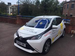 white fundraising car Douglas Macmillan
