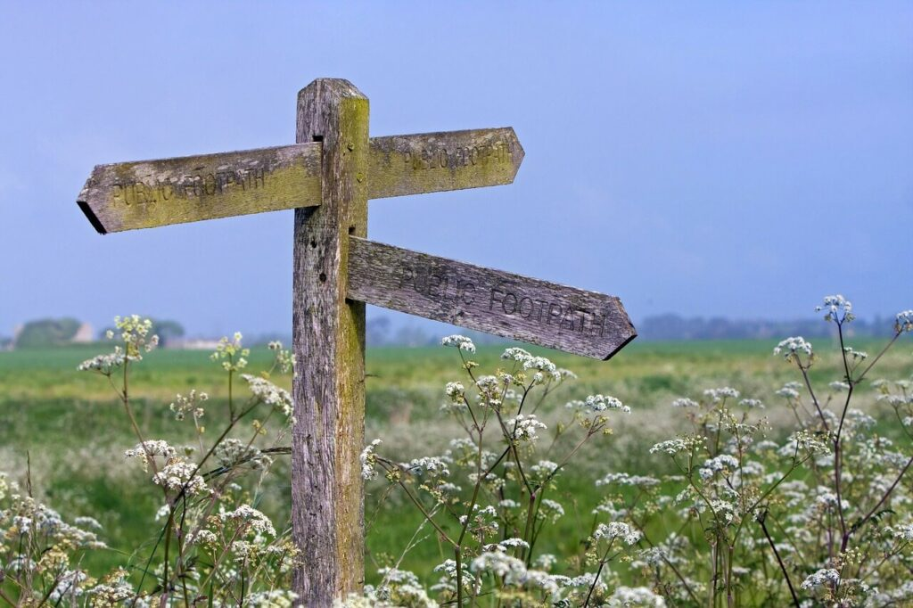 signpost image in countryside